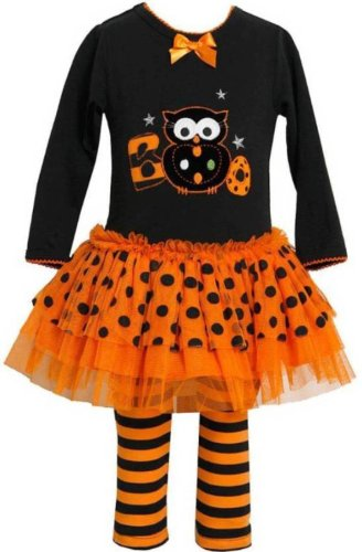 Bonnie Baby Baby-girls Halloween BOO Owl Fall Dress Outfit Set
