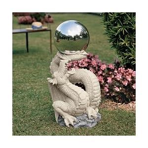 the mystical Gazing Orb medieval Dragon Statue