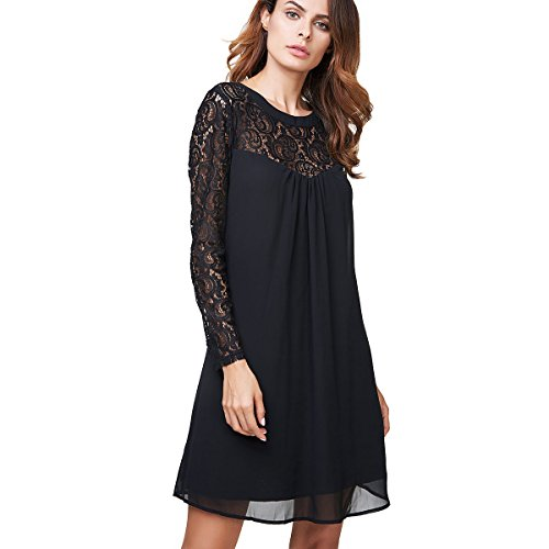 Vanberfia Women's Long Sleeve Lace Patchwork Loose Casual Mini Chiffon Dress (XL, 6556)