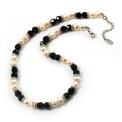 Ivory Freshwater Pearl Necklace With Crystal Rings & Black Glass Beads (7mm)