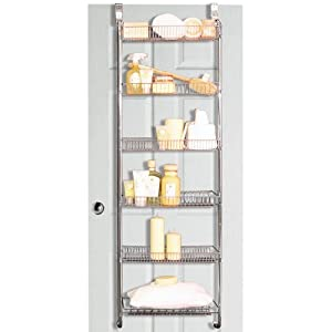 store metal over door back of door bathroom storage rack silver kitchen home. Black Bedroom Furniture Sets. Home Design Ideas