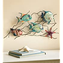 Tropical Fish Iron And Capiz Shell Wall Sculpture