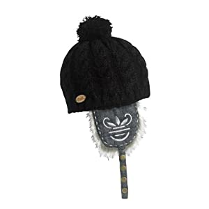 FU-R Headwear - Women's Dolly Dagger, Faux Fur Knit Earflap Pom Hat, Black, One Size
