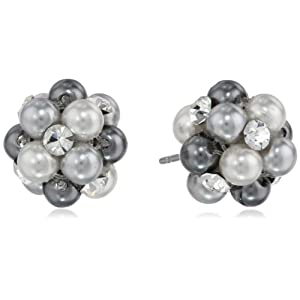 Grey Tonal Simulated Pearl and Clear Crystal Cluster Studs