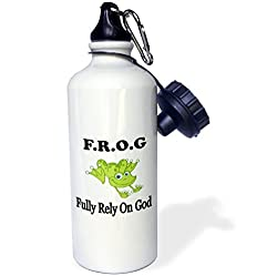3dRose wb_149833_1 Frog Fully Rely on God Sports Water Bottle, 21 oz, White
