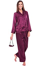 Del Rossa Women\'s Satin Pajamas, Long Button-Down Pj Set and Mask, XL Deep Purple (A0750DPUXL)
