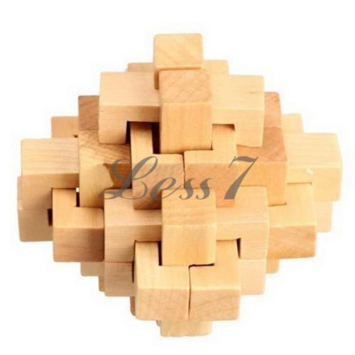 Chinese Kongming Luban Intelligence Wooden Lock Puzzle Toy For Child adult #MFR