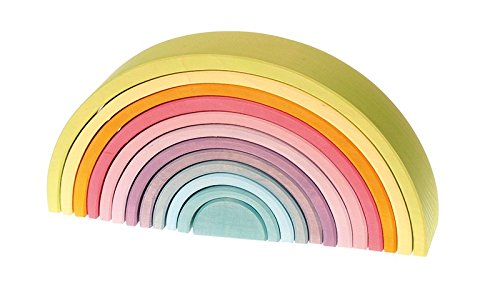 Extra Large 12-Piece Rainbow Tunnel Stacker Toy in Pastel Colors - Wooden Nesting Puzzle for Creative Sculpture Building (Extra Large Rainbow compare prices)