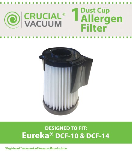 Eureka DCF-10 & DCF-14 Washable & Reusable Filters; Compare With Eureka Part #62731, 62396, DCF10, DCF14 ; Designed & Engineered By Crucial Vacuum (Hepa Filter Dcf 10 14 Eureka compare prices)