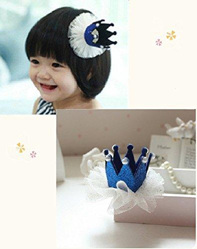 [my fairy baby] お誕生日にも♪ ハット 風 王冠 ヘアクリップ レース付  女の子 アクセサリー (ブルー)