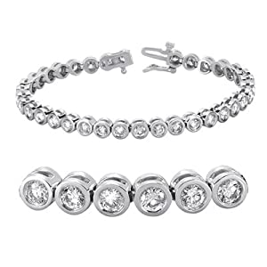 14K White Gold 5.22cttw Round Diamond Bracelet