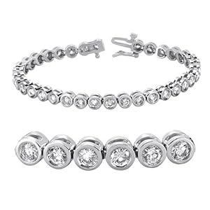 14K White Gold 5.22cttw Round Diamond Bracelet