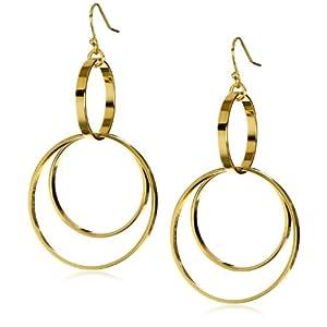 Trina Turk 2 Tier Gold Hoop Earrings