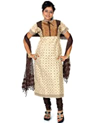 Exotic India Beige And Black Anarkali Suit With Brocade Weave - Beige