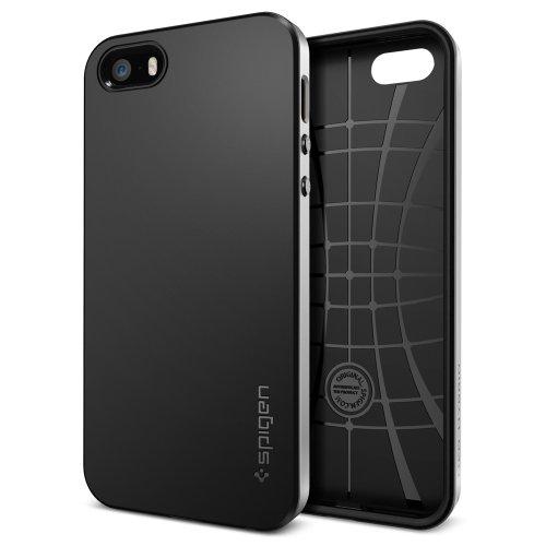 国内正規品 (二重構造) Spigen iPhone 5s / 5 ケース ネオ・ハイブリッド [サテン・シルバー] SGP10361