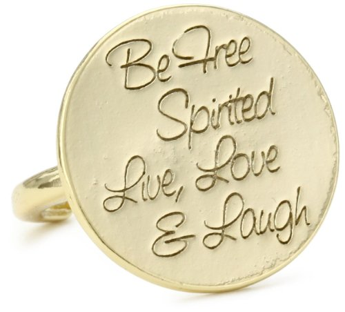 Ettika Gold Colored Be Free Spirited, Live, Love and Laugh Adjustable Ring