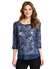 Indigo Collection Floral Lace Top