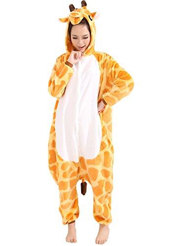 Tonwhar Cartoon Animal Onesie For Adults Giraffe Cosplay Costumes (S(Height:148Cm/4.85'-159Cm/5.21')) front-533803
