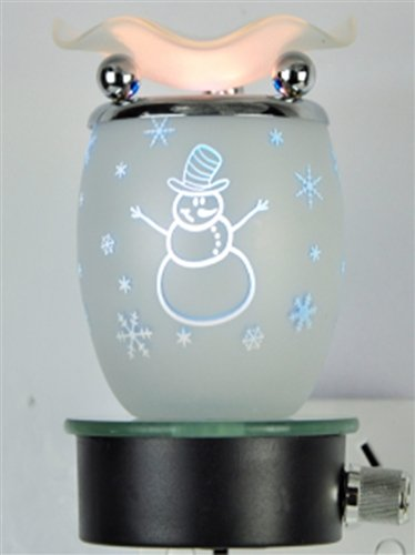 White Snowman Design Decorative Glass Electric Plug-in Fragrance Lamp Aromatherapy Oil Warmer/burner Night Light in Gift Box # Mb63 (Electric Snowman compare prices)