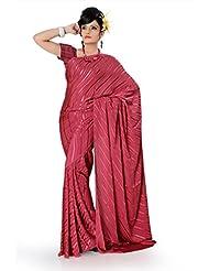 Designersareez Women Brasso Printed Onion Deep Pink Saree With Unstitched Blouse(789)