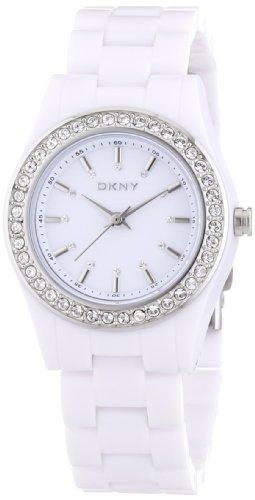 DKNY NY8145 - Reloj analógico de cuarzo para mujer con correa de plástico, color blanco