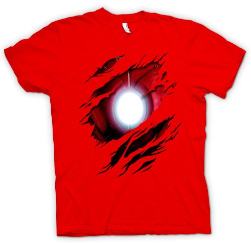 Herren T-Shirt Iron Man - Marvel Comics - Kostüm - Effekt - Rot - XL