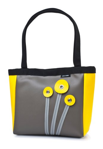 Holly Aiken Poppy Coupe Small Tote, Gunmetal/Yellow