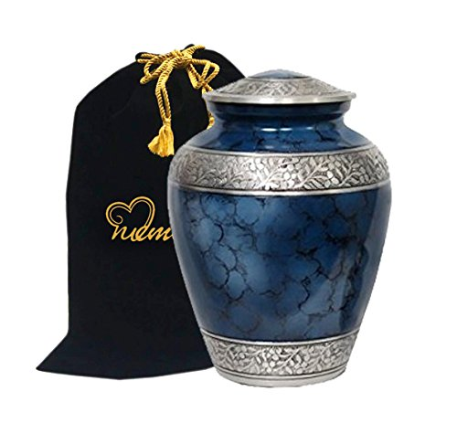 Memorials4u Elite Cloud Blue and Silver Cremation Urn for Human Ashes - Adult Funeral Urn Handcrafted and Engraved - Affordable Urn for Ashes - Large Urn Deal. (Urns Funeral compare prices)