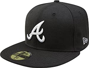 ATLANTA BRAVES NEW ERA CAP - BLACK ON BLACK Größentabelle: 6 7/8 - 55cm (S)
