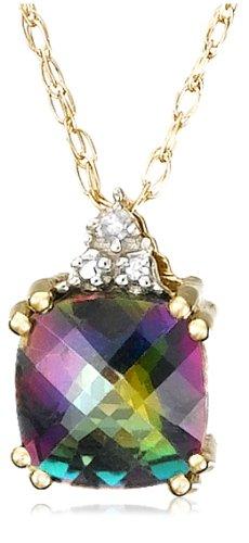 10k Yellow Gold, June Birthstone, Mystic Topaz and Diamond Pendant