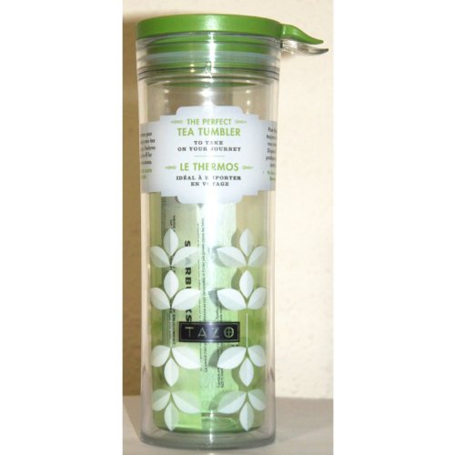 Starbucks Tazo Green Tea Leaves Art Perfect Tea Tumbler Travel Flask/Drinkware With Lid