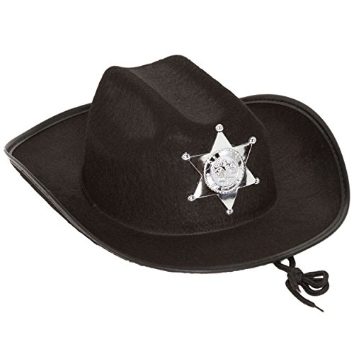 Kids Black Sheriff Hat Standard - 1