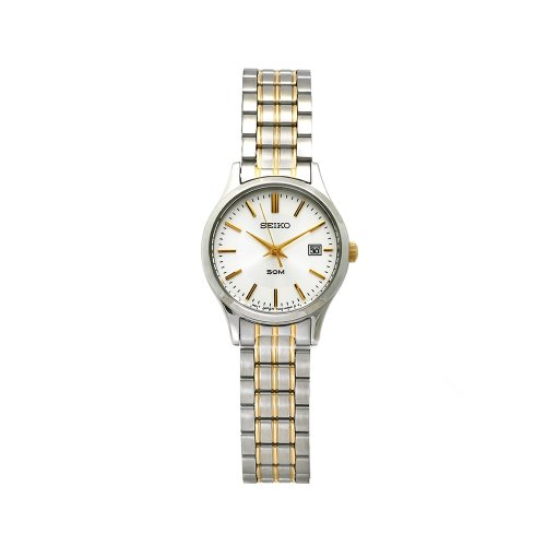 Seiko Ladies Silver Dial Two Tone Stainless Steel Bracelet Watch SXDC39P1