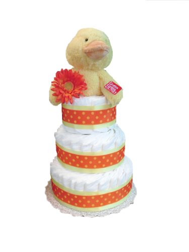 Fuzzy Ducky - Yellow and Orange Baby Shower Diaper Cake