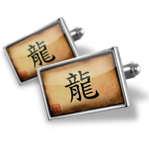 Sterling Silver Cufflinks Chinese characters, letter Dragon – Neonblond