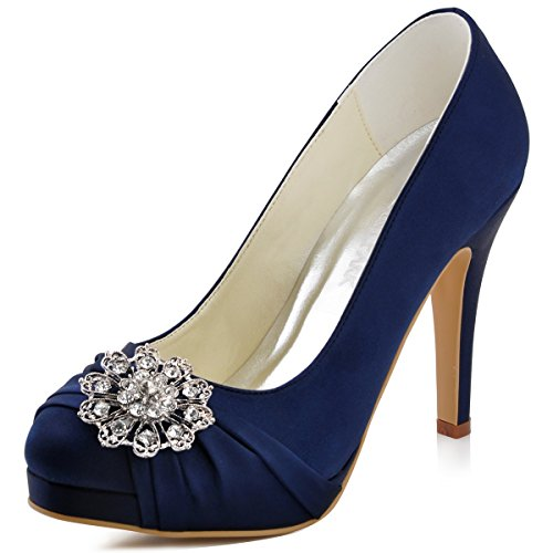 ElegantPark EP2015-PF Women's Closed Toe Platform High Heels Rhinestones Buckles Satin Evening Dress Party Shoes Navy Blue US 8