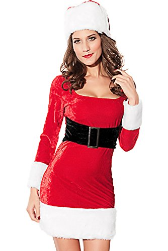Dear-lover Women's Sexy Santa Wife Claus Dress Underbust Belt Hat Costume CST22