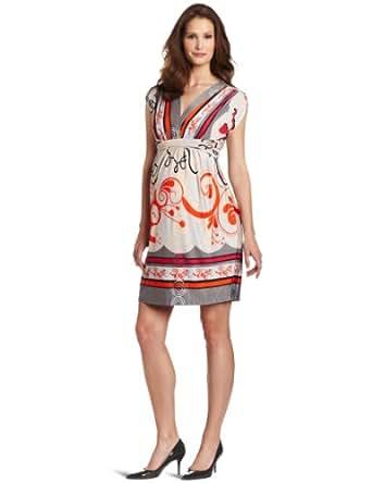 Olian Women's Maternity Valentina Empire Dress, Gray/Beige/Red, Medium