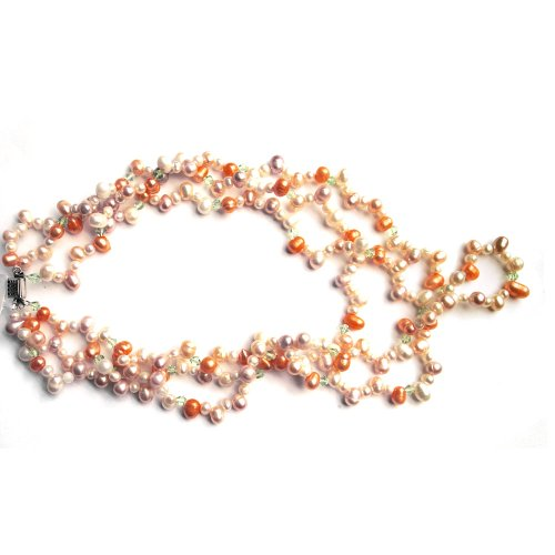 3 Strands Freshwater Cultured Multicolor (White, Orange, Green and Black) Pearl Necklace