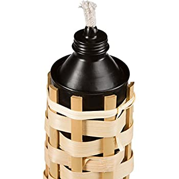 Tall Bamboo Tiki Torches Luau - (7 Pack) WITH CAPS Extra Long 5FT/60IN Bamboo Torches Angled Tip Large Oil Canister Long Wick