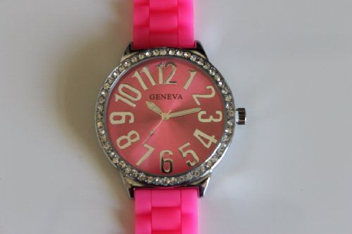 Women'S Geneva Pink Large Face Platinum Silicone Rubber Jelly With Cz Crystal Rhinestones Face Bling Xl