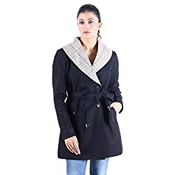 Black wool coat with belt 2