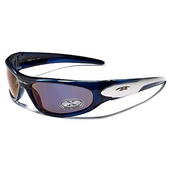 X-Loop Lunettes de Soleil - Sport - Cyclisme - Ski - Conduite - Moto - Plage / Mod. 1200 Bicolore Bleu Spectral Gris / Taille Unique Adulte / Protection 100% UV400