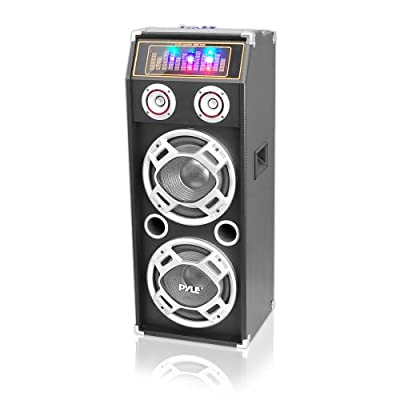 Pyle PSUFM1035A Bluetooth 1000 Watt 2-Way Speaker System with SD Card Reader, FM Radio, 3.5mm AUX Input and Flashing DJ Lights from DJ Tech Pro USA, LLC