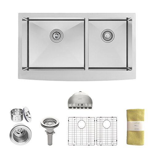 Zuhne 33 Inch Farmhouse Apron 60/40 Deep Double Bowl 16 Gauge Stainless Steel Luxury Kitchen Sink