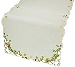Xia Home Fashions Winter Berry Christmas Table Runner, 15 by 54-Inch
