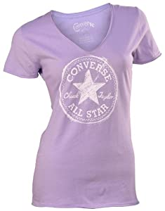 Converse Women's Chuck Taylor All Star Patch V-Neck T-Shirt-Lavendar-Large