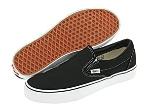 VANS CLASSIC SLIP ON SKATE SHOES (6.5 D(M), Black)