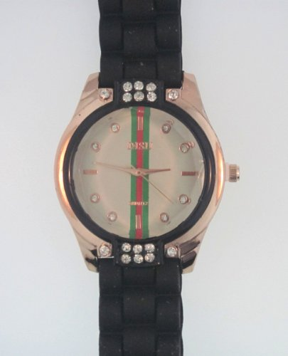 Black Silicone Rubber Gel Watch Link Look Ceramic Style. Face With Crystals On Top And Bottom. Red, Green, Red Stripe Down Center Of Face.