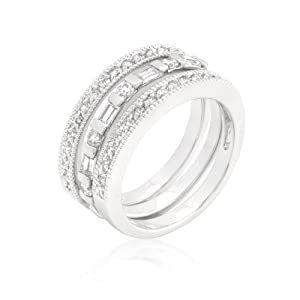 CZ Rhodium Plated Simple Eternity Ring Set with Round Cut and Emerald Cut Clear Cubic Zirconia